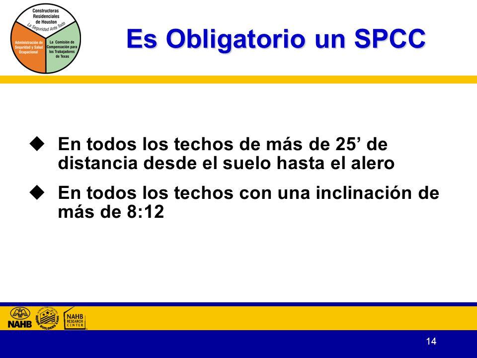 14 Es Obligatorio un SPCC En todos los techos de más de 25 de distancia desde el suelo hasta el alero En todos los techos con una inclinación de más de 8:12