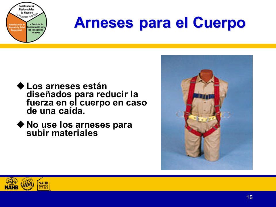 15 Arneses para el Cuerpo Los arneses están diseñados para reducir la fuerza en el cuerpo en caso de una caída.
