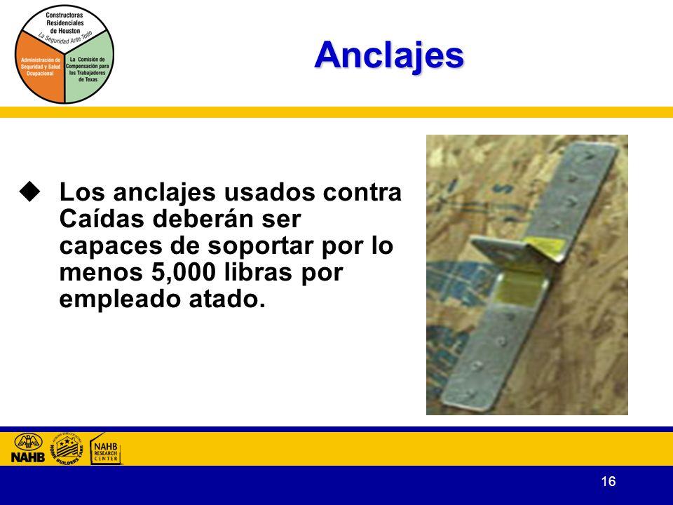 16 Anclajes Los anclajes usados contra Caídas deberán ser capaces de soportar por lo menos 5,000 libras por empleado atado.