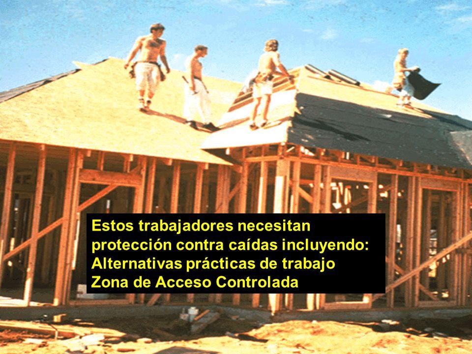 25 Estos trabajadores necesitan protección contra caídas incluyendo: Alternativas prácticas de trabajo Zona de Acceso Controlada
