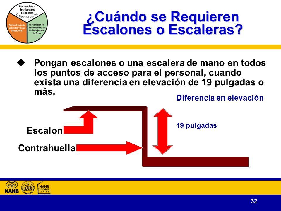 32 19 pulgadas Diferencia en elevación ¿Cuándo se Requieren Escalones o Escaleras.
