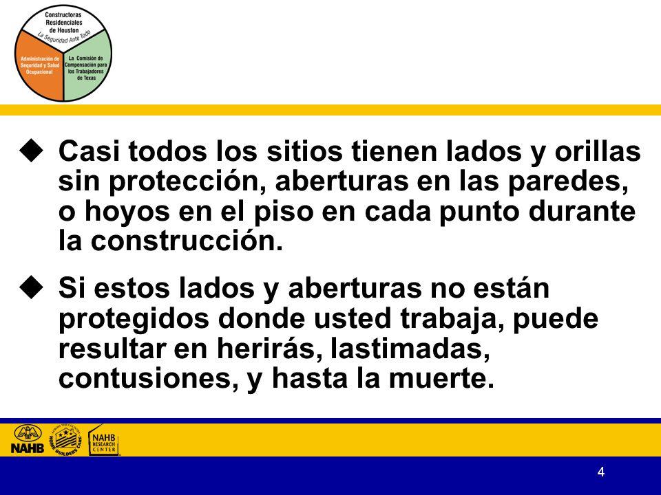 4 Casi todos los sitios tienen lados y orillas sin protección, aberturas en las paredes, o hoyos en el piso en cada punto durante la construcción.