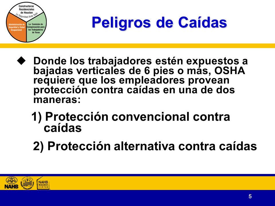5 Peligros de Caídas Donde los trabajadores estén expuestos a bajadas verticales de 6 pies o más, OSHA requiere que los empleadores provean protección contra caídas en una de dos maneras: 1) Protección convencional contra caídas 2) Protección alternativa contra caídas