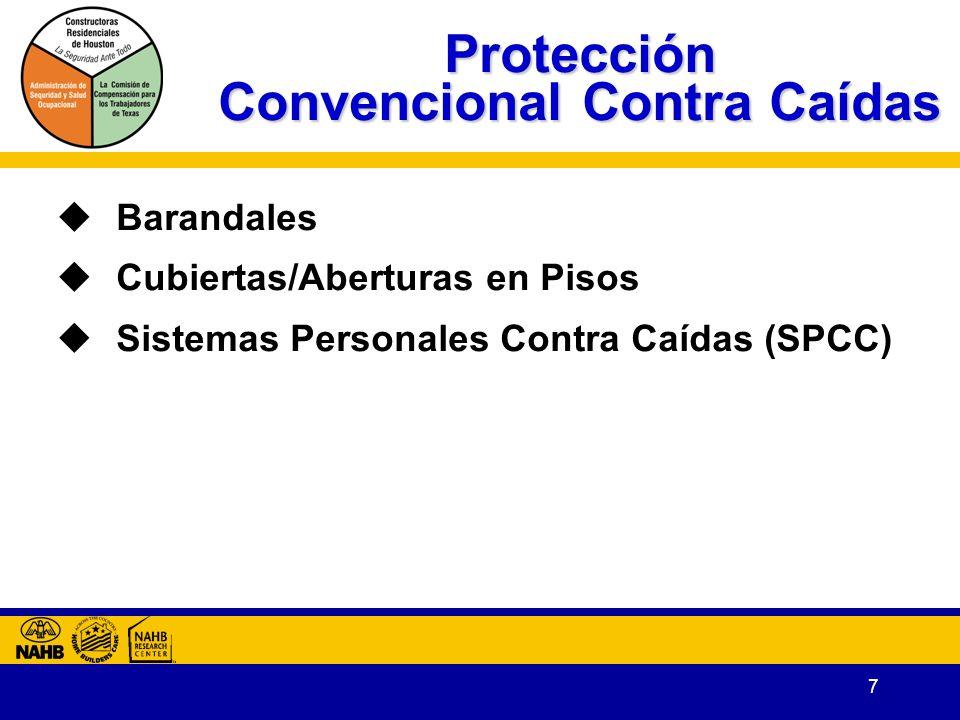 7 Protección Convencional Contra Caídas Barandales Cubiertas/Aberturas en Pisos Sistemas Personales Contra Caídas (SPCC)