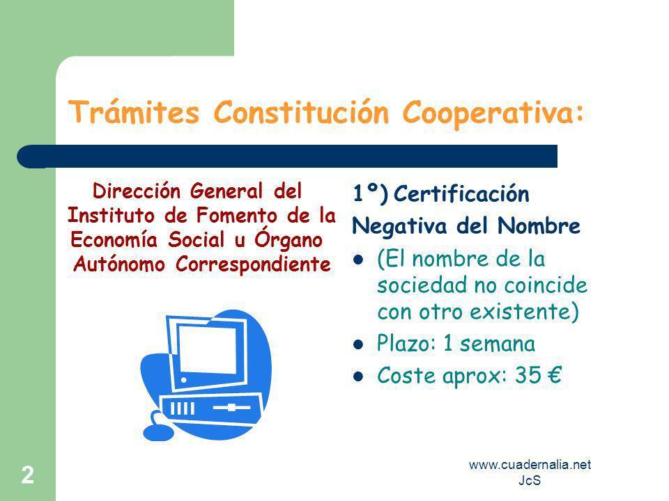 www.cuadernalia.net JcS 2 Trámites Constitución Cooperativa: 1º) Certificación Negativa del Nombre (El nombre de la sociedad no coincide con otro exis