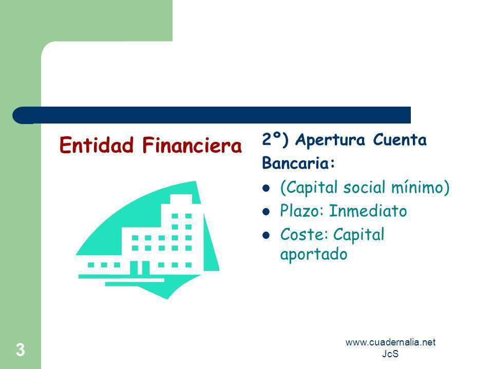 www.cuadernalia.net JcS 3 2º) Apertura Cuenta Bancaria: (Capital social mínimo) Plazo: Inmediato Coste: Capital aportado Entidad Financiera