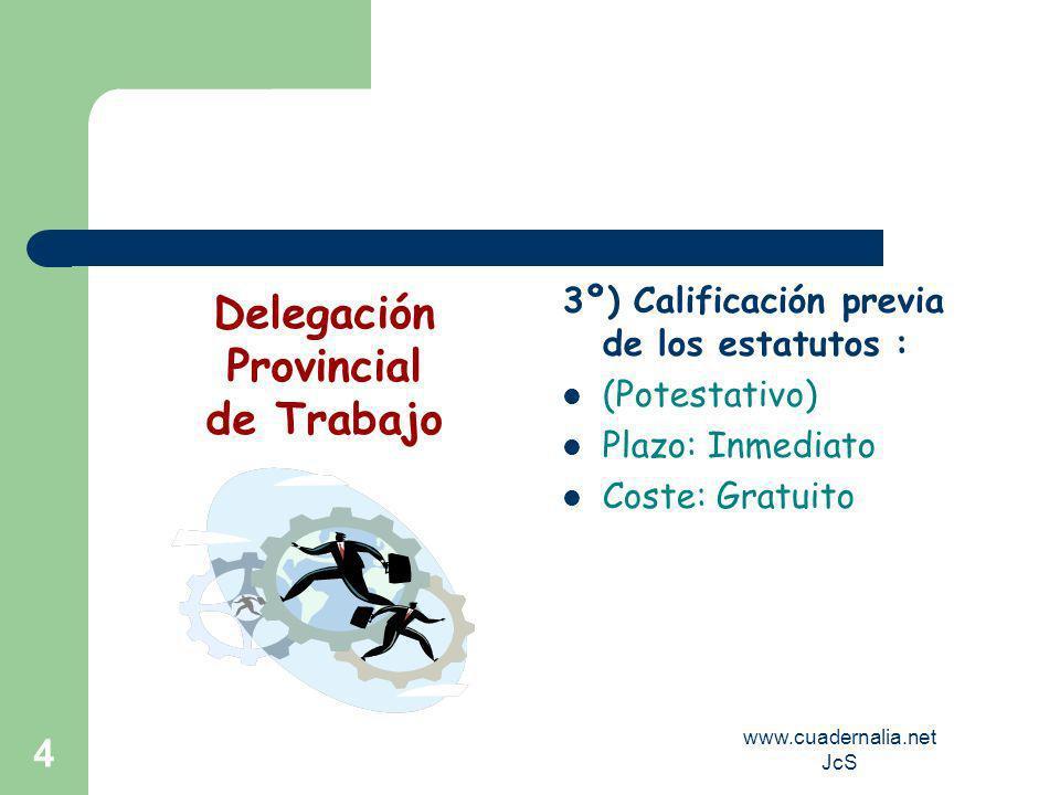 www.cuadernalia.net JcS 4 3º) Calificación previa de los estatutos : (Potestativo) Plazo: Inmediato Coste: Gratuito Delegación Provincial de Trabajo