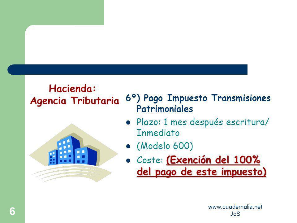www.cuadernalia.net JcS 6 6º) Pago Impuesto Transmisiones Patrimoniales Plazo: 1 mes después escritura/ Inmediato (Modelo 600) (Exención del 100% del