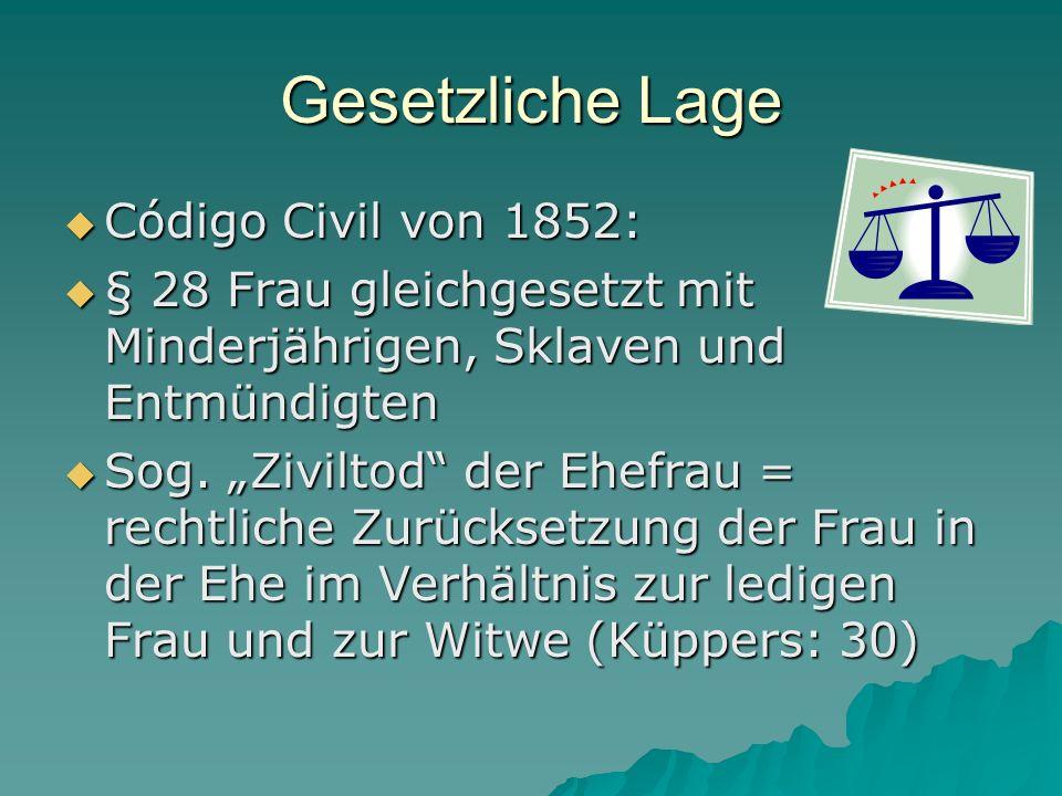 Gesetzliche Lage Código Civil von 1852: Código Civil von 1852: § 28 Frau gleichgesetzt mit Minderjährigen, Sklaven und Entmündigten § 28 Frau gleichge