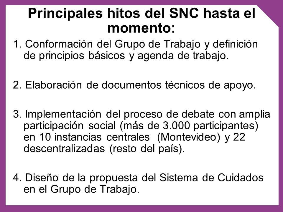 1. Conformación del Grupo de Trabajo y definición de principios básicos y agenda de trabajo. 2. Elaboración de documentos técnicos de apoyo. 3. Implem