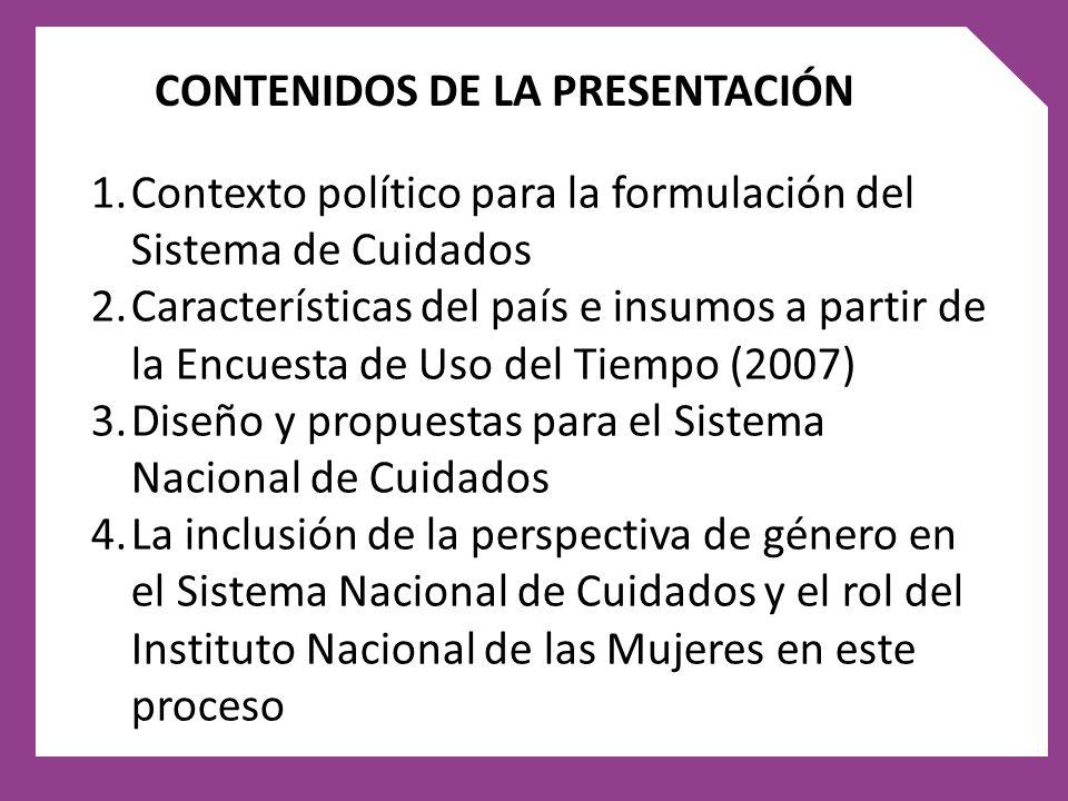 CONTENIDOS DE LA PRESENTACIÓN 1.Contexto político para la formulación del Sistema de Cuidados 2.Características del país e insumos a partir de la Encu