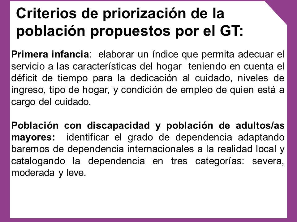 Criterios de priorización de la población propuestos por el GT: Primera infancia: elaborar un índice que permita adecuar el servicio a las característ