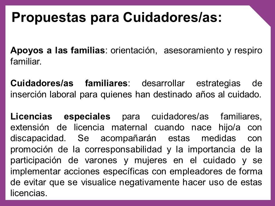 Propuestas para Cuidadores/as: Apoyos a las familias: orientación, asesoramiento y respiro familiar. Cuidadores/as familiares: desarrollar estrategias