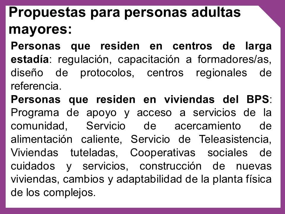 Propuestas para personas adultas mayores: Personas que residen en centros de larga estadía: regulación, capacitación a formadores/as, diseño de protoc