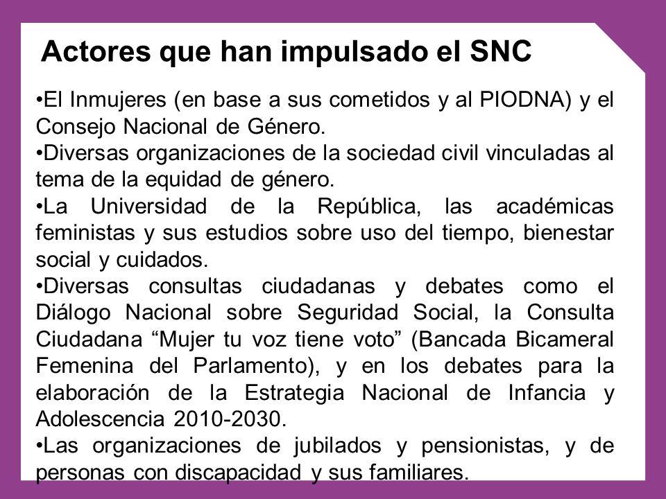 El Inmujeres (en base a sus cometidos y al PIODNA) y el Consejo Nacional de Género. Diversas organizaciones de la sociedad civil vinculadas al tema de