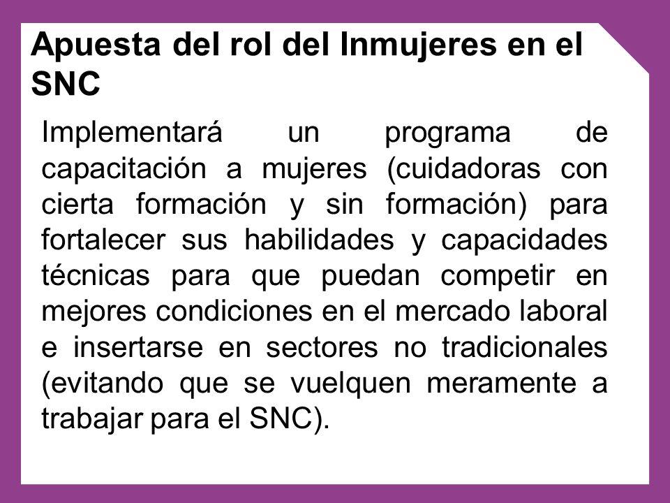 Implementará un programa de capacitación a mujeres (cuidadoras con cierta formación y sin formación) para fortalecer sus habilidades y capacidades téc