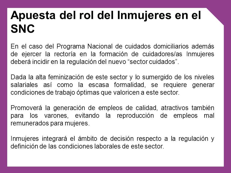 En el caso del Programa Nacional de cuidados domiciliarios además de ejercer la rectoría en la formación de cuidadores/as Inmujeres deberá incidir en