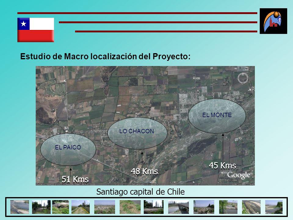 Estudio de Macro localización del Proyecto: EL PAICO EL MONTE LO CHACON Santiago capital de Chile 45 Kms 48 Kms 51 Kms 45 Kms 48 Kms 51 Kms 45 Kms 48