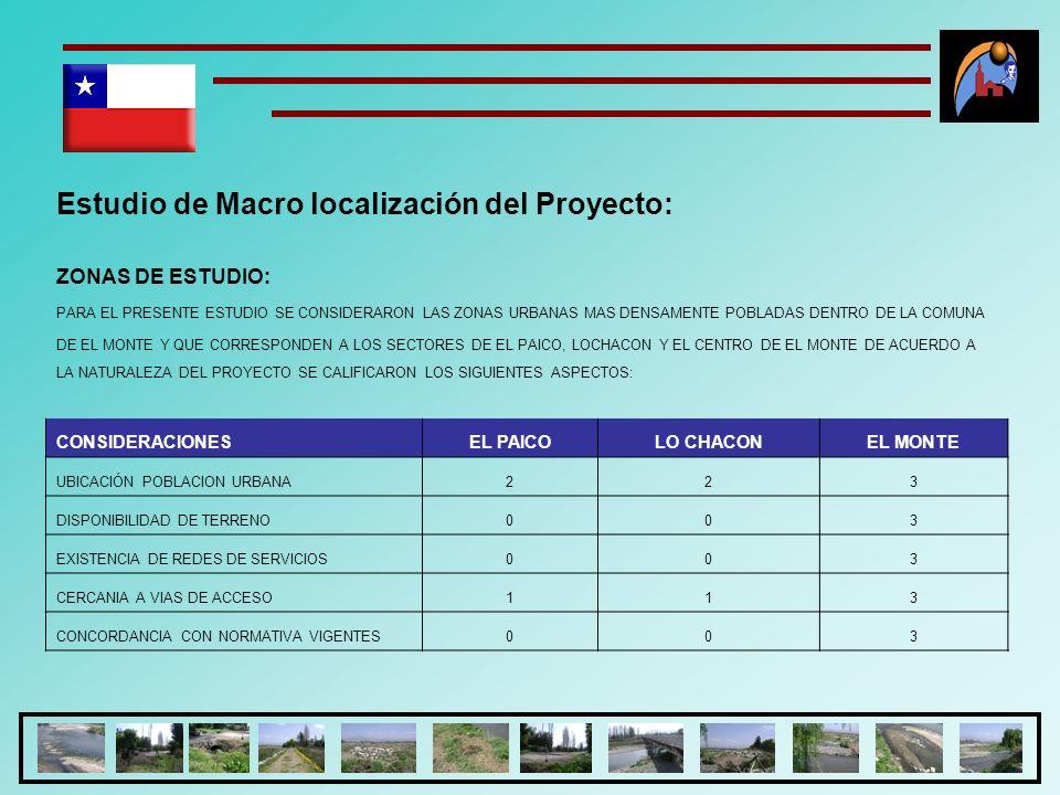 Estudio de Macro localización del Proyecto: ZONAS DE ESTUDIO: PARA EL PRESENTE ESTUDIO SE CONSIDERARON LAS ZONAS URBANAS MAS DENSAMENTE POBLADAS DENTR