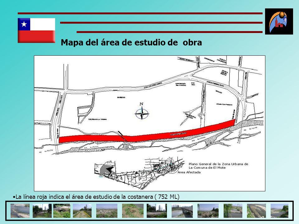 Mapa del área de estudio de obra La línea roja indica el área de estudio de la costanera ( 752 ML)