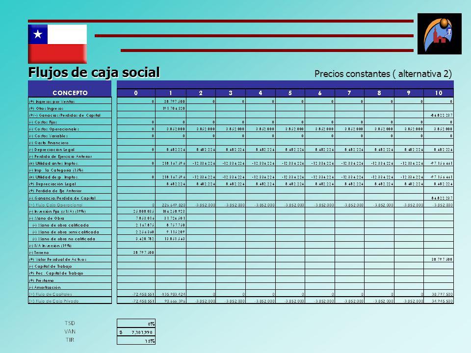 Flujos de caja social Precios constantes ( alternativa 2)