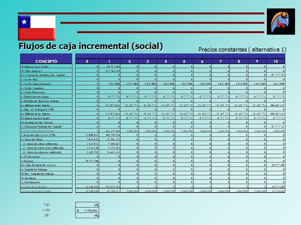 Flujos de caja incremental (social) Precios constantes ( alternativa 1)