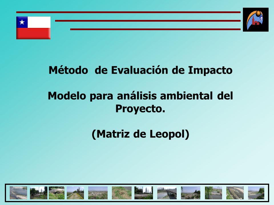 Método de Evaluación de Impacto Modelo para análisis ambiental del Proyecto. (Matriz de Leopol)
