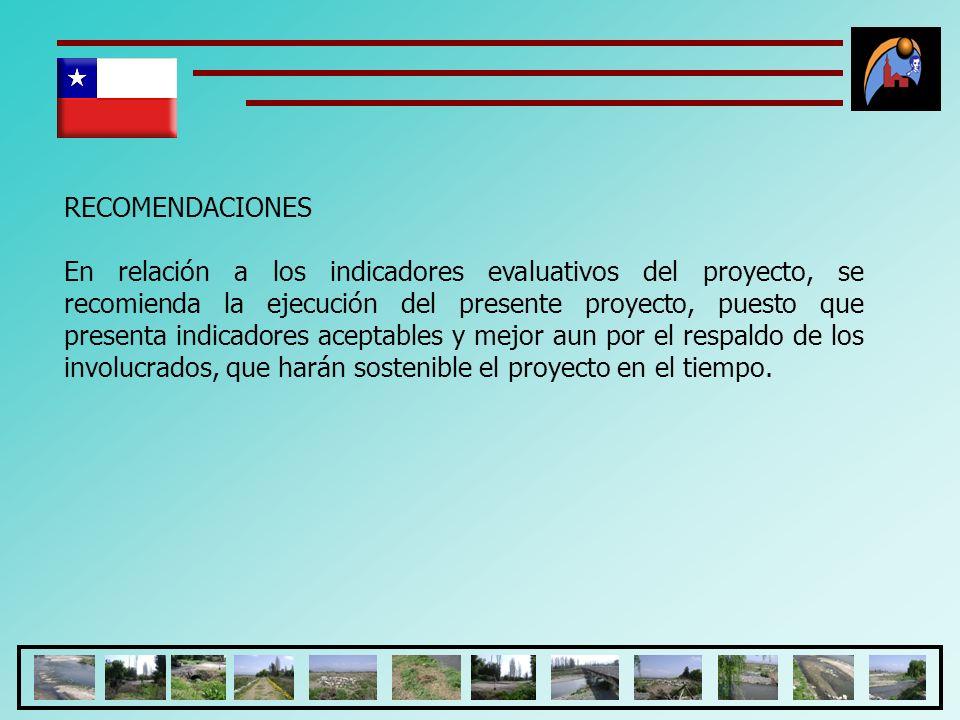 RECOMENDACIONES En relación a los indicadores evaluativos del proyecto, se recomienda la ejecución del presente proyecto, puesto que presenta indicado