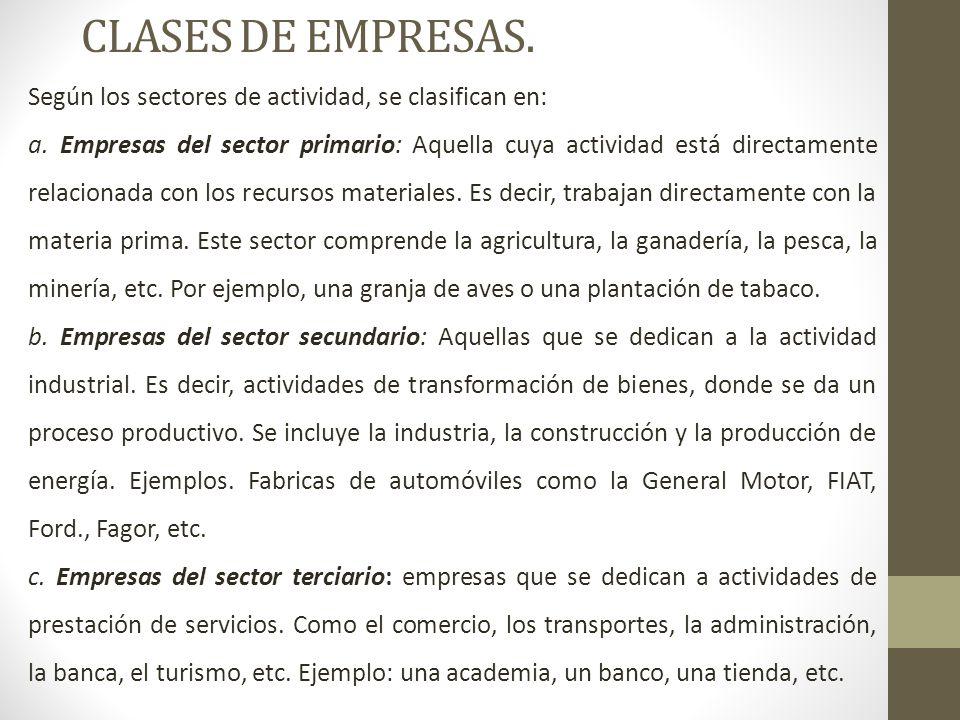 CLASES DE EMPRESAS.Según los sectores de actividad, se clasifican en: a.