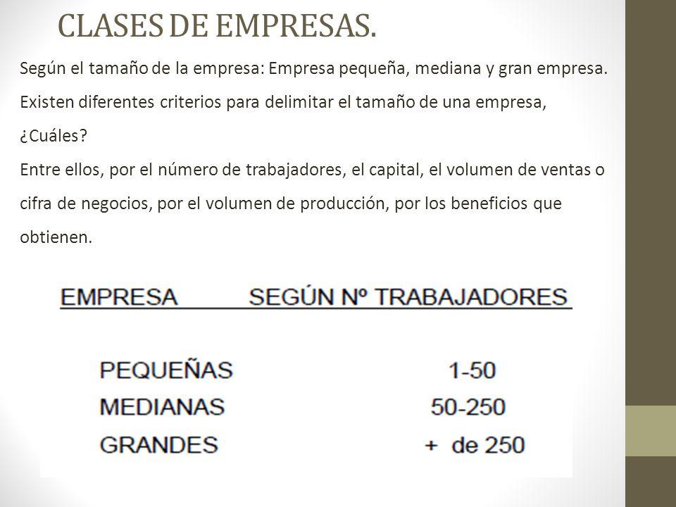 CLASES DE EMPRESAS.Según el tamaño de la empresa: Empresa pequeña, mediana y gran empresa.