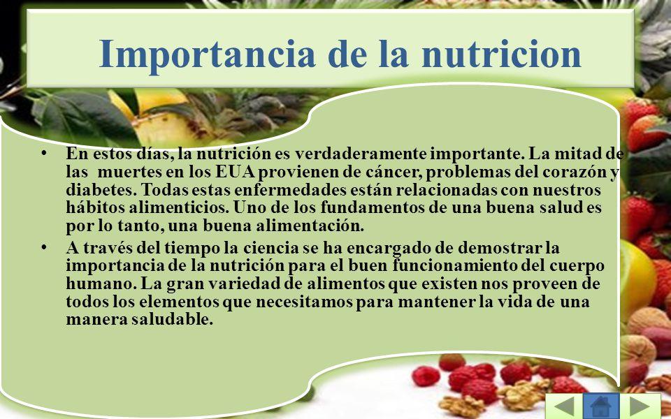 Importancia de la nutricion En estos días, la nutrición es verdaderamente importante.