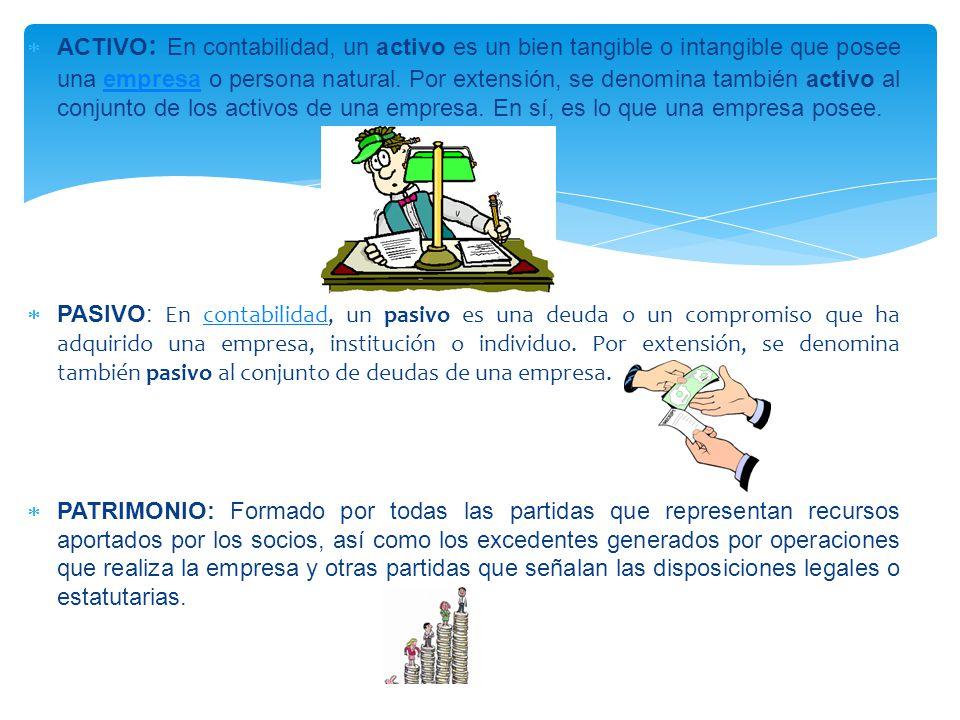  ACTIVO : En contabilidad, un activo es un bien tangible o intangible que posee una empresa o persona natural.