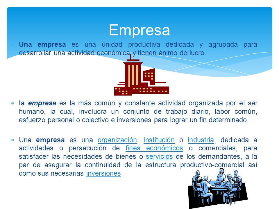  Una empresa es una unidad productiva dedicada y agrupada para desarrollar una actividad económica y tienen ánimo de lucro.