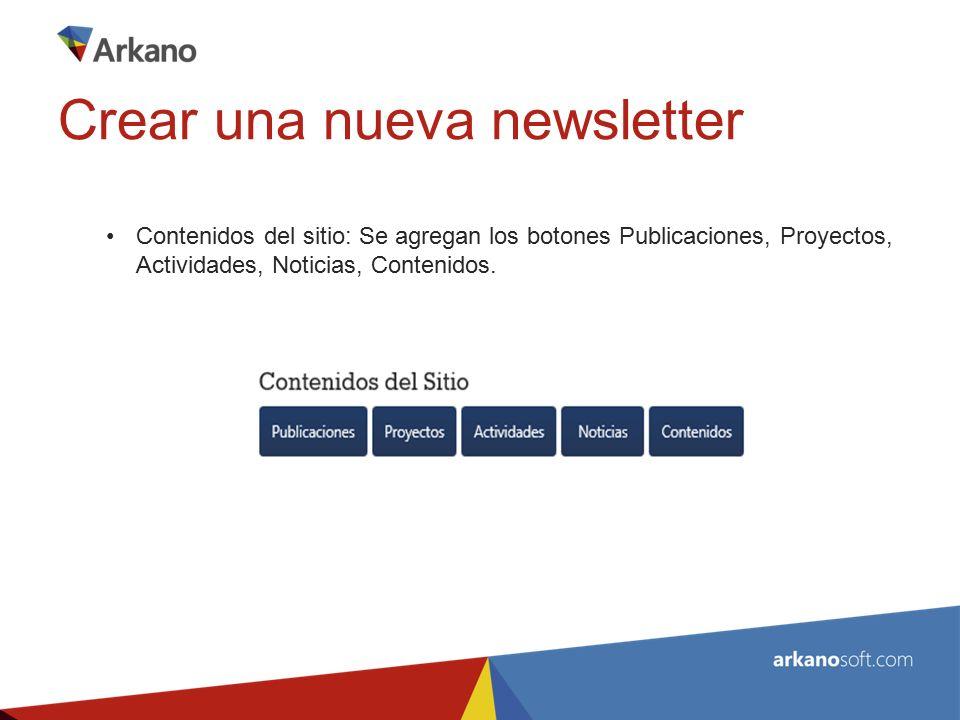 Contenidos del sitio: Se agregan los botones Publicaciones, Proyectos, Actividades, Noticias, Contenidos.