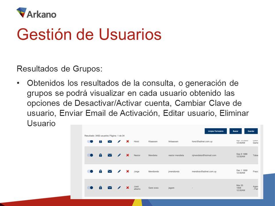 Resultados de Grupos: Obtenidos los resultados de la consulta, o generación de grupos se podrá visualizar en cada usuario obtenido las opciones de Desactivar/Activar cuenta, Cambiar Clave de usuario, Enviar Email de Activación, Editar usuario, Eliminar Usuario Gestión de Usuarios