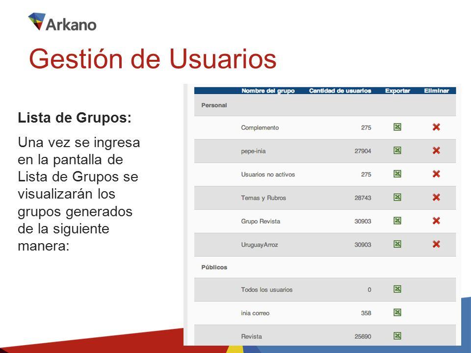 Lista de Grupos: Una vez se ingresa en la pantalla de Lista de Grupos se visualizarán los grupos generados de la siguiente manera: Gestión de Usuarios