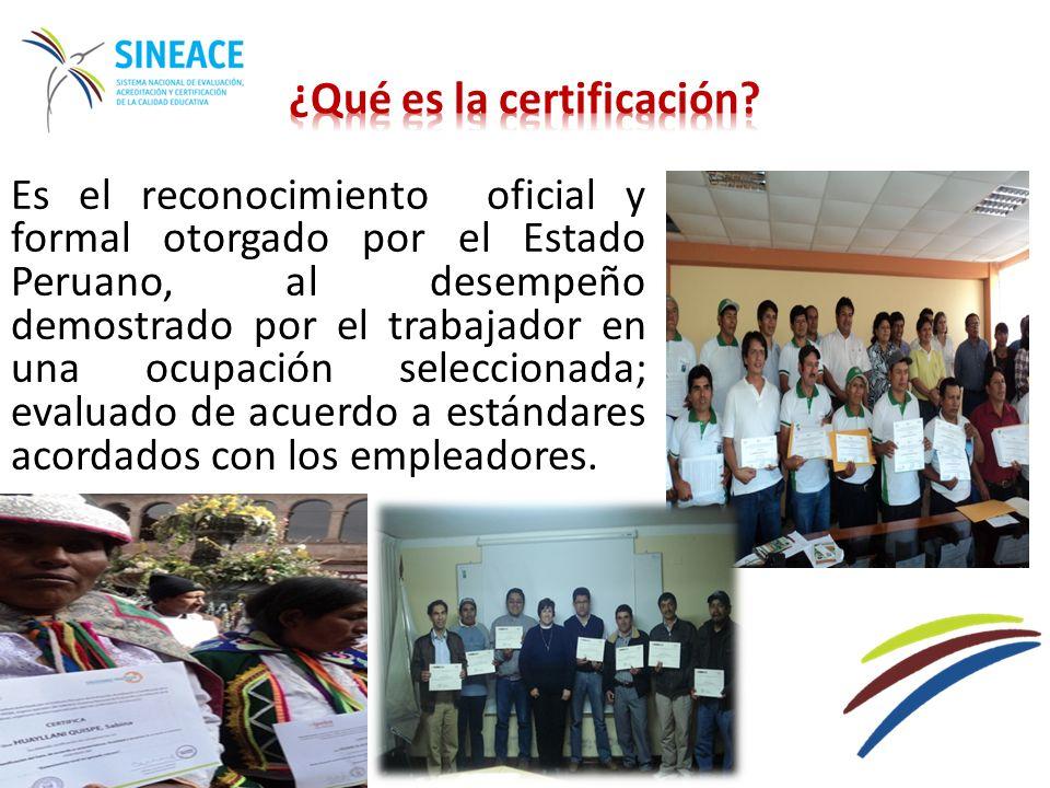 CERTIFICACIÓN EN EL PERÚ 2006 2007 2012 Ley 29158, Ley Orgánica del Poder Ejecutivo - LOPE Creación del SINEACE 2011 2013 Reglamento del SINEACE Instalación de CONEAU, CONEACES e IPEBA 2014 2008 2009 2010 Estándares o Normas de Competencia en Salud, Agropecuaria Certificación de evaluadores de competencia Colegios profesionales y Entidades Certificadoras autorizadas 2251 personas certificadas