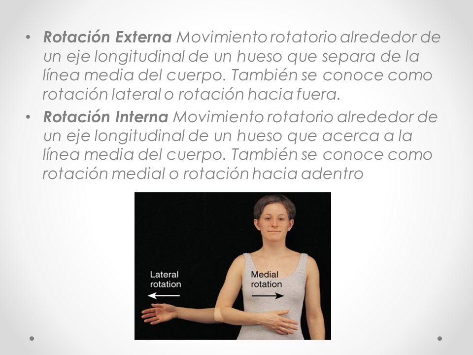 Rotación Externa Movimiento rotatorio alrededor de un eje longitudinal de un hueso que separa de la línea media del cuerpo. También se conoce como rot
