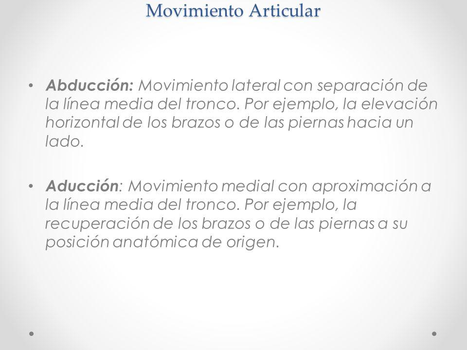 Movimiento Articular Abducción: Movimiento lateral con separación de la línea media del tronco. Por ejemplo, la elevación horizontal de los brazos o d