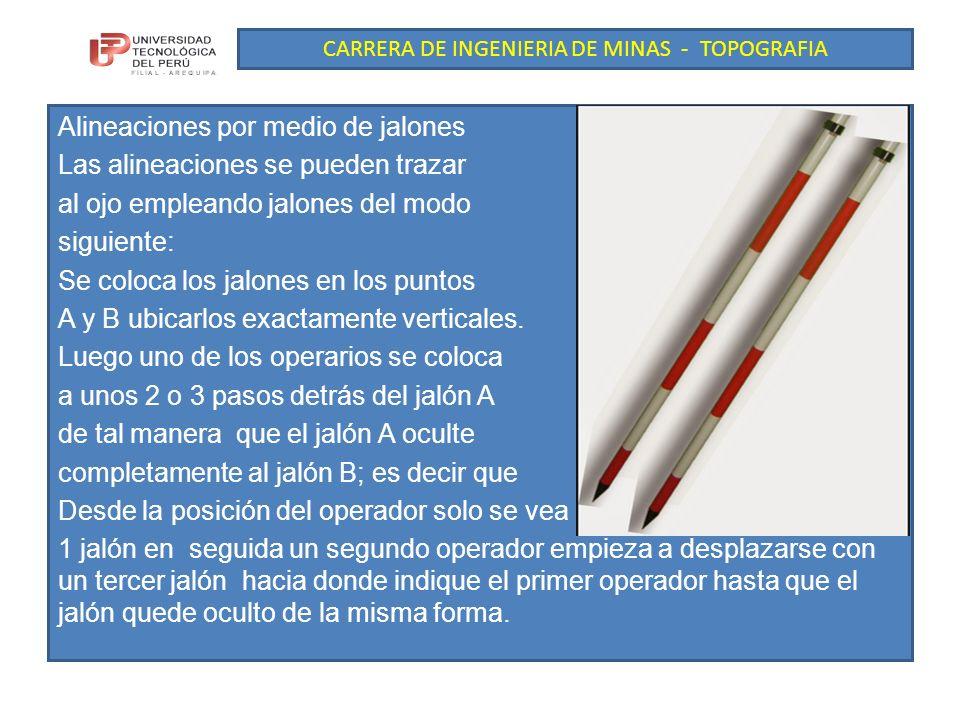 CARRERA DE INGENIERIA DE MINAS - TOPOGRAFIA Alineaciones por medio de jalones Las alineaciones se pueden trazar al ojo empleando jalones del modo siguiente: Se coloca los jalones en los puntos A y B ubicarlos exactamente verticales.