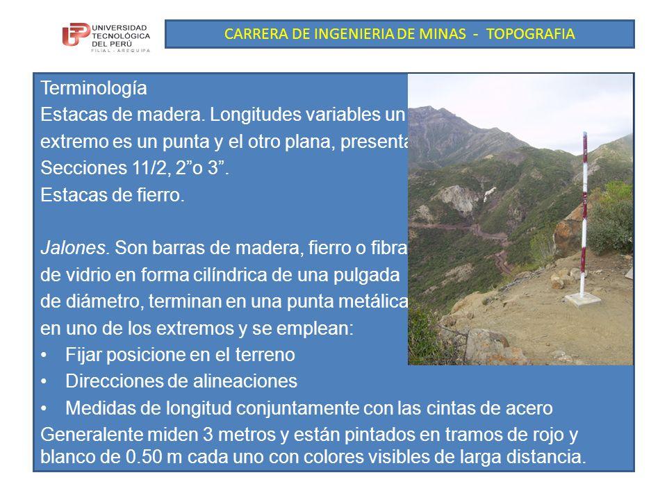 CARRERA DE INGENIERIA DE MINAS - TOPOGRAFIA Terminología Estacas de madera.