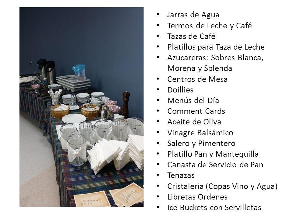Jarras de Agua Termos de Leche y Café Tazas de Café Platillos para Taza de Leche Azucareras: Sobres Blanca, Morena y Splenda Centros de Mesa Doillies