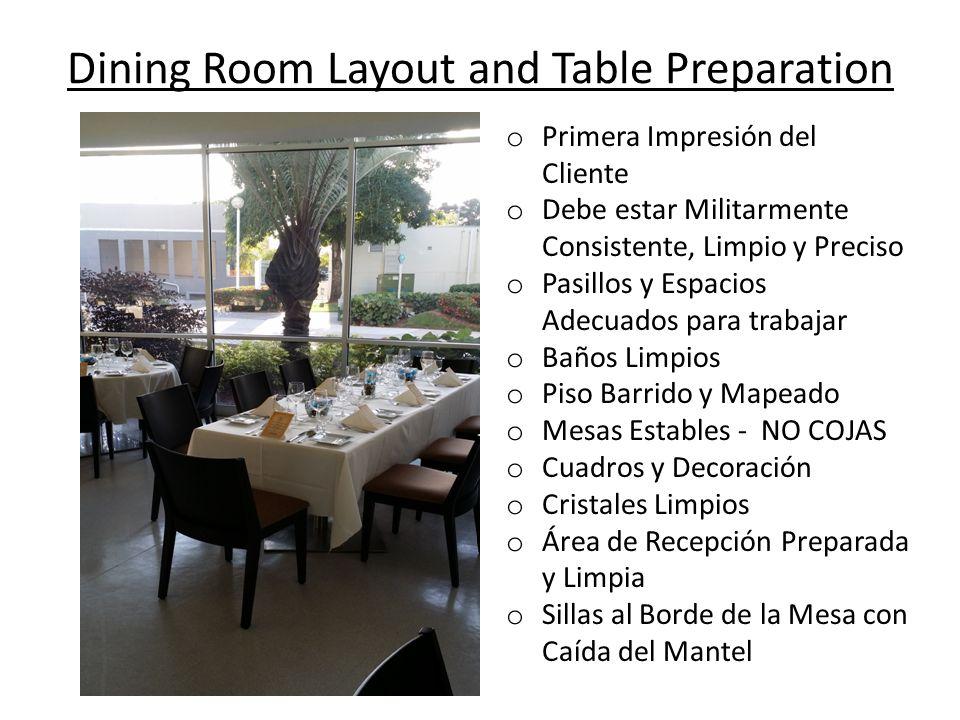 Dining Room Layout and Table Preparation o Primera Impresión del Cliente o Debe estar Militarmente Consistente, Limpio y Preciso o Pasillos y Espacios
