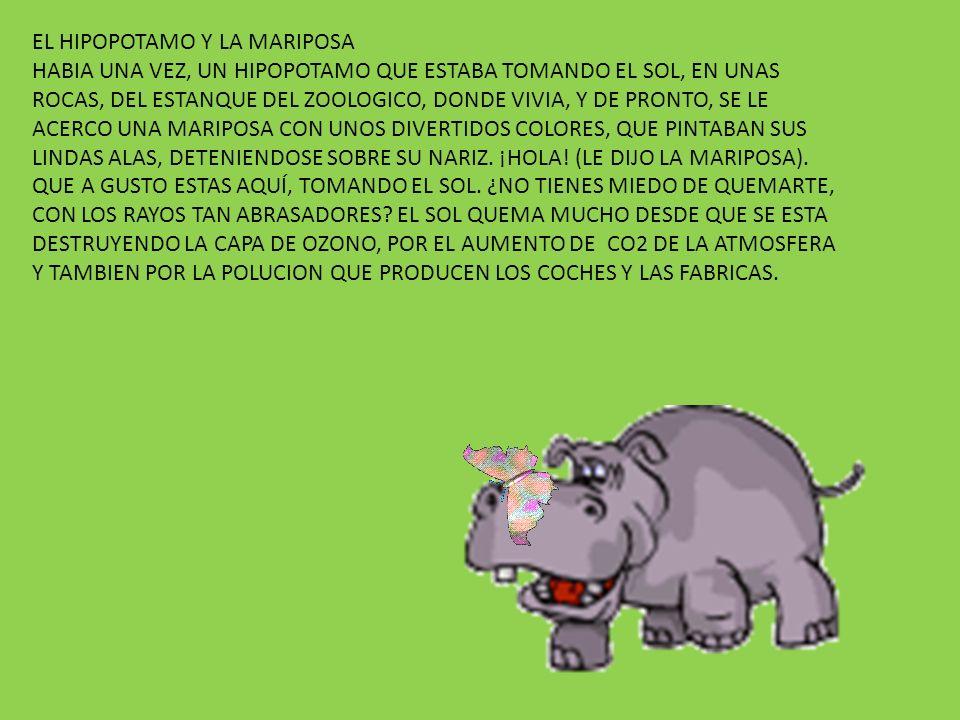 EL HIPOPOTAMO Y LA MARIPOSA HABIA UNA VEZ, UN HIPOPOTAMO QUE ESTABA TOMANDO EL SOL, EN UNAS ROCAS, DEL ESTANQUE DEL ZOOLOGICO, DONDE VIVIA, Y DE PRONTO, SE LE ACERCO UNA MARIPOSA CON UNOS DIVERTIDOS COLORES, QUE PINTABAN SUS LINDAS ALAS, DETENIENDOSE SOBRE SU NARIZ.