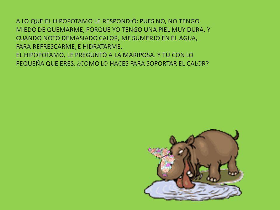 A LO QUE EL HIPOPOTAMO LE RESPONDIÓ: PUES NO, NO TENGO MIEDO DE QUEMARME, PORQUE YO TENGO UNA PIEL MUY DURA, Y CUANDO NOTO DEMASIADO CALOR, ME SUMERJO EN EL AGUA, PARA REFRESCARME, E HIDRATARME.