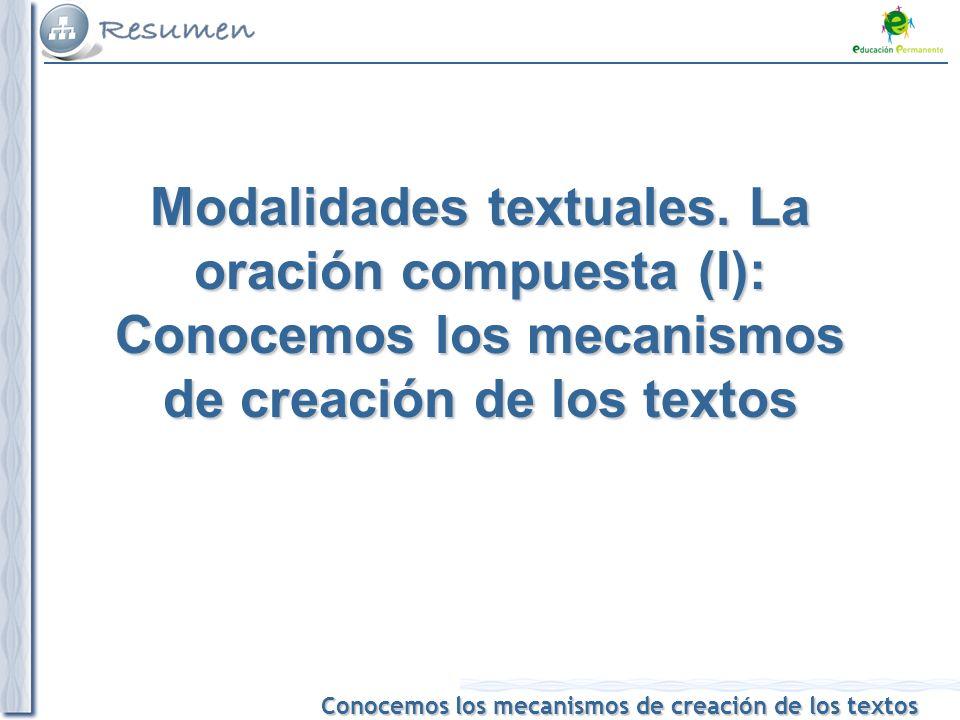 Conocemos los mecanismos de creación de los textos Modalidades textuales.