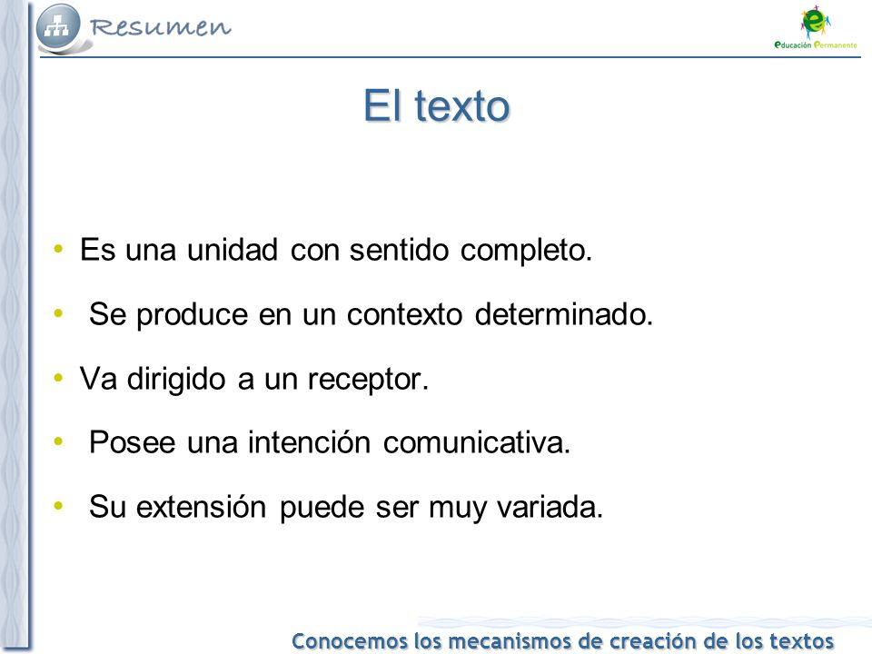Conocemos los mecanismos de creación de los textos El texto Es una unidad con sentido completo.