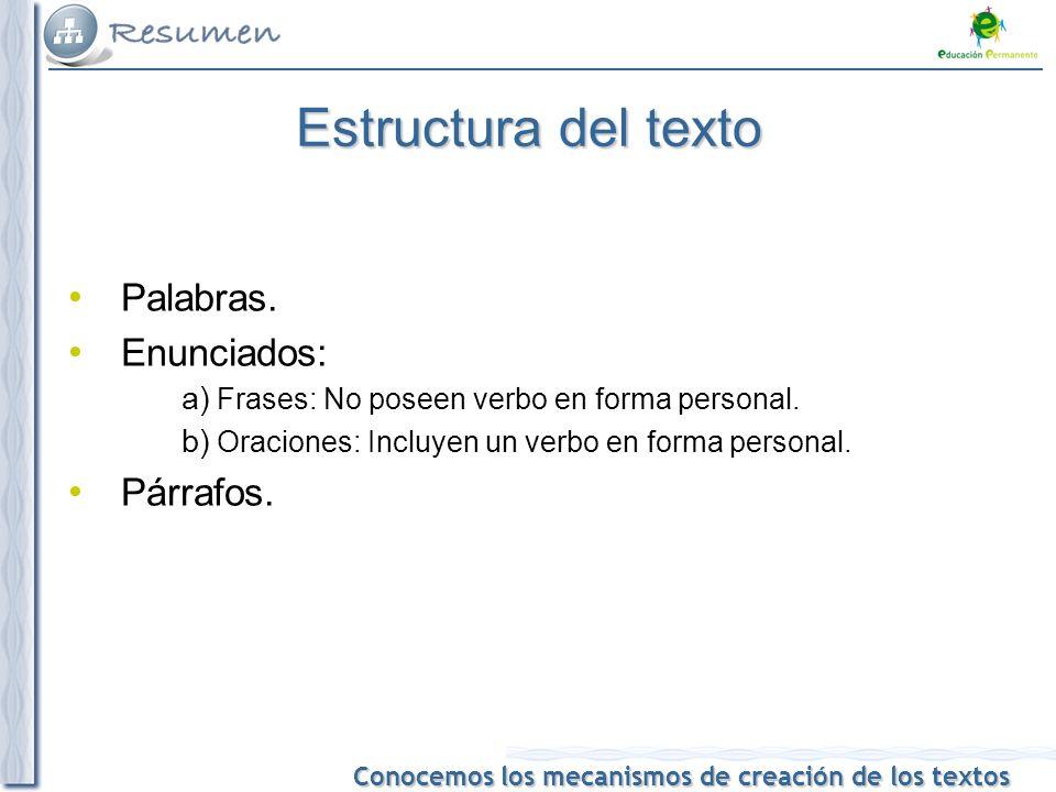 Conocemos los mecanismos de creación de los textos Estructura del texto Palabras.