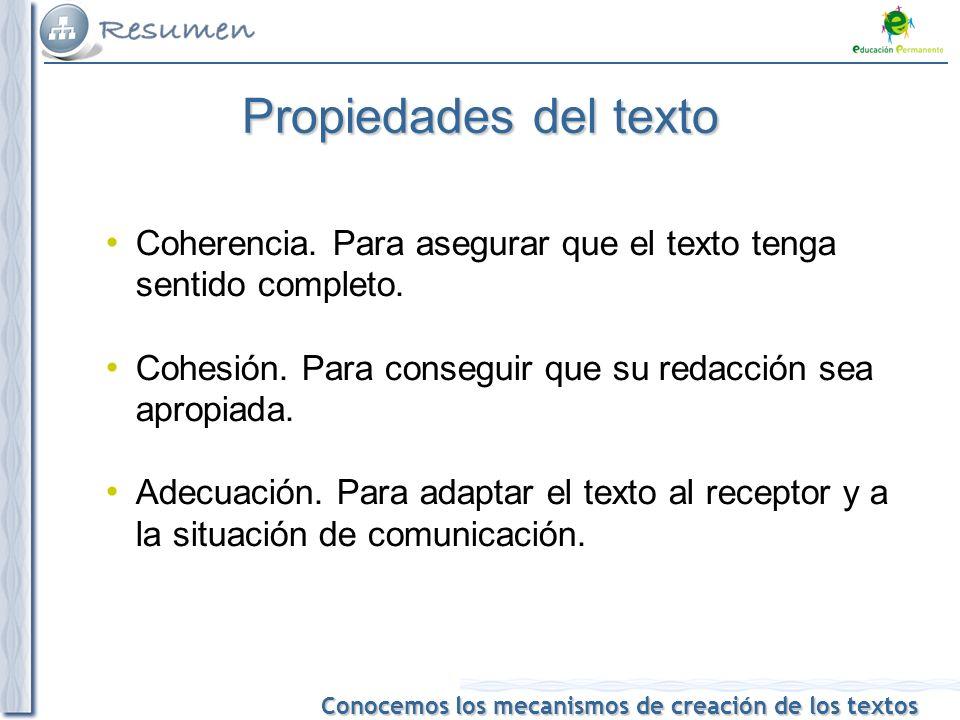 Conocemos los mecanismos de creación de los textos Propiedades del texto Coherencia.