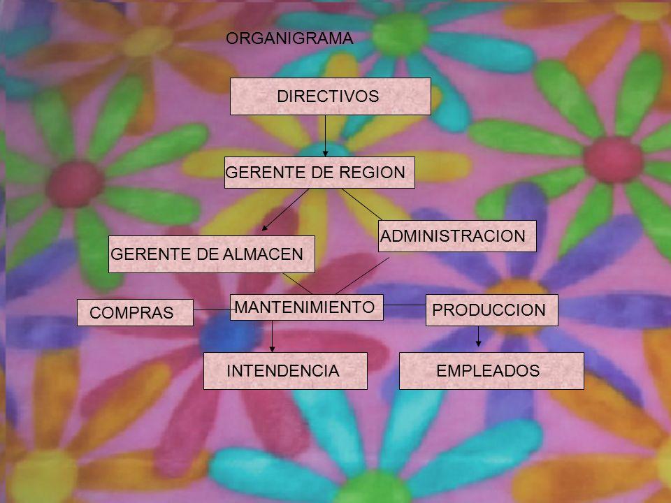 DIRECTIVOS GERENTE DE REGION ADMINISTRACION GERENTE DE ALMACEN MANTENIMIENTO COMPRAS PRODUCCION EMPLEADOS INTENDENCIA ORGANIGRAMA